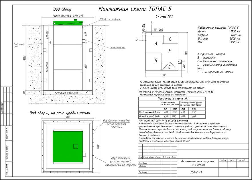 монтажная схема канализации топас