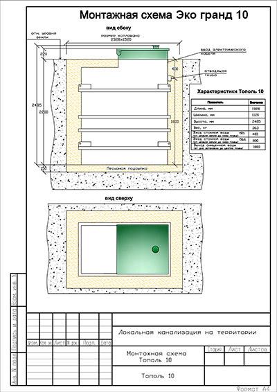 монтажная схема канализации тополь
